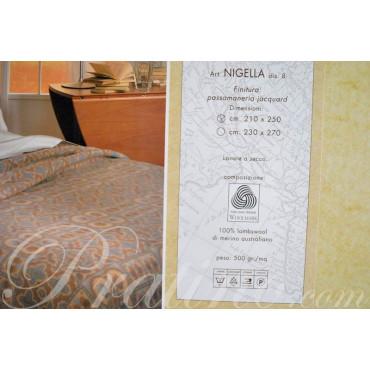 Coperta Matrimoniale Pura Lana di Agnello Merino Beige-Rosa 250x210