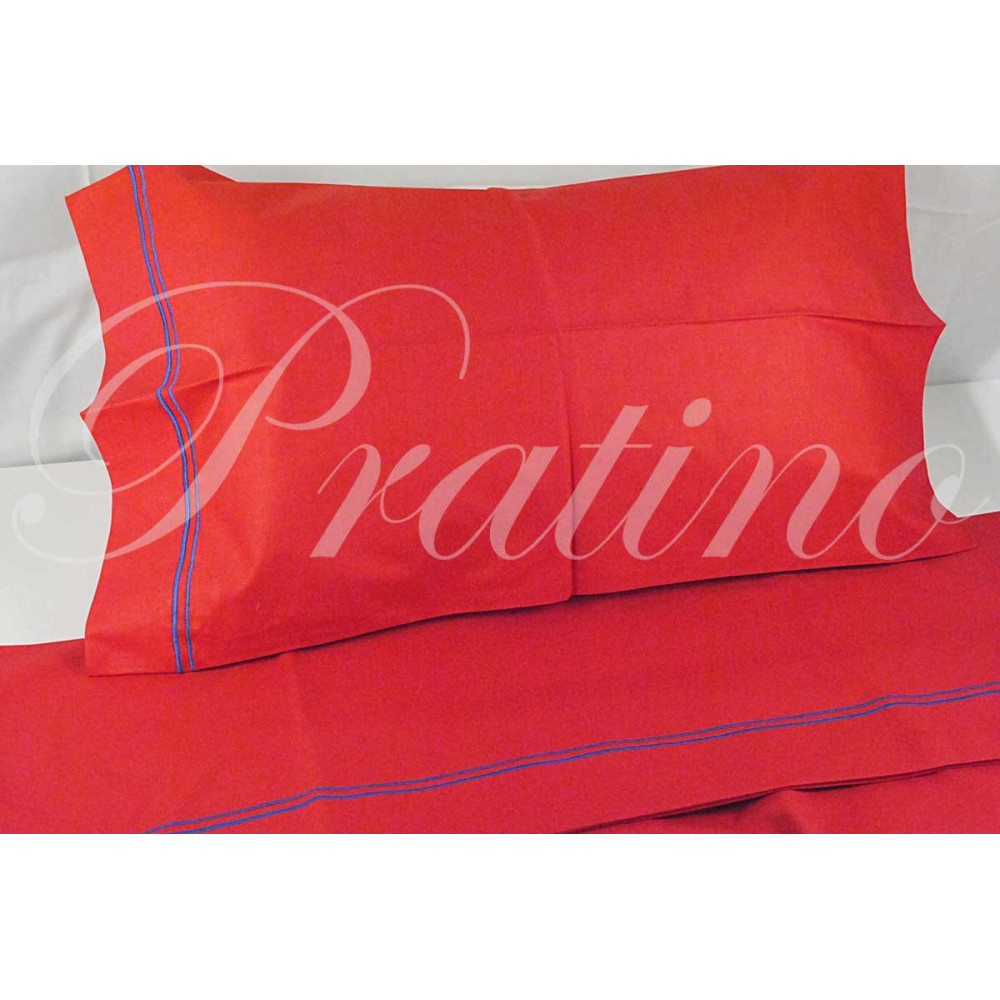 Sheets Single 1Piazza Red Blue Embroidery 160x280 Under the plan