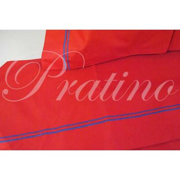 Lenzuola Singolo 1Piazza Rosso Ricamo Blu 160x280 Sotto piano