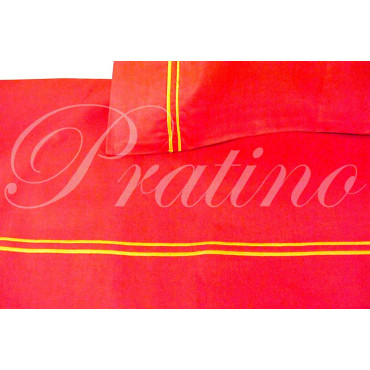 Sheets Single 1Piazza Red Embroidery Yellow 160x280 Under the corners
