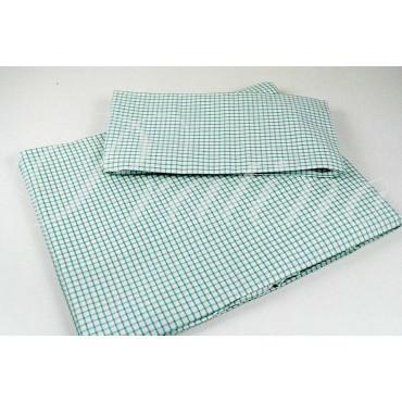 Completo Singolo 1Piazza Quadrettini Verde 150x290 +1Federa sotto angoli 90x200