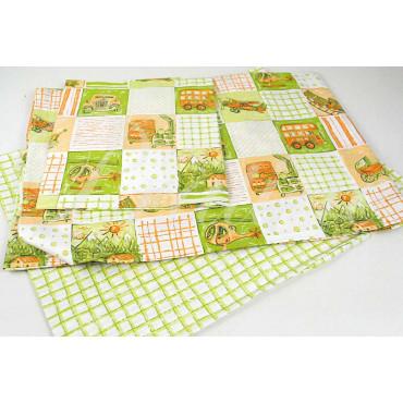 Completo Singolo 1Piazza Patchwork Verde Acido 160x290 +1Federa sotto angoli 90x200