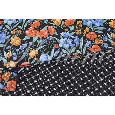 Duvet cover Single-Black Floral design 155x200 +below corners +1Federa