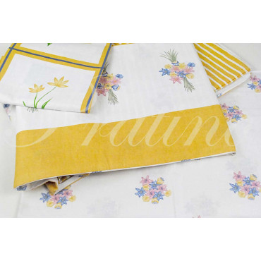 Duvet cover Single Yellow Fantasy Flowers 155x200 +below corners +1Federa