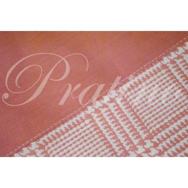 Completo Singolo 1Piazza Rosa Pied de Poule 150x300 sotto angoli 95x200 +1Federa