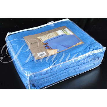 Copriletto Trapuntato Singolo Tintaunita Azzurro 180x260 Quilt Cotone