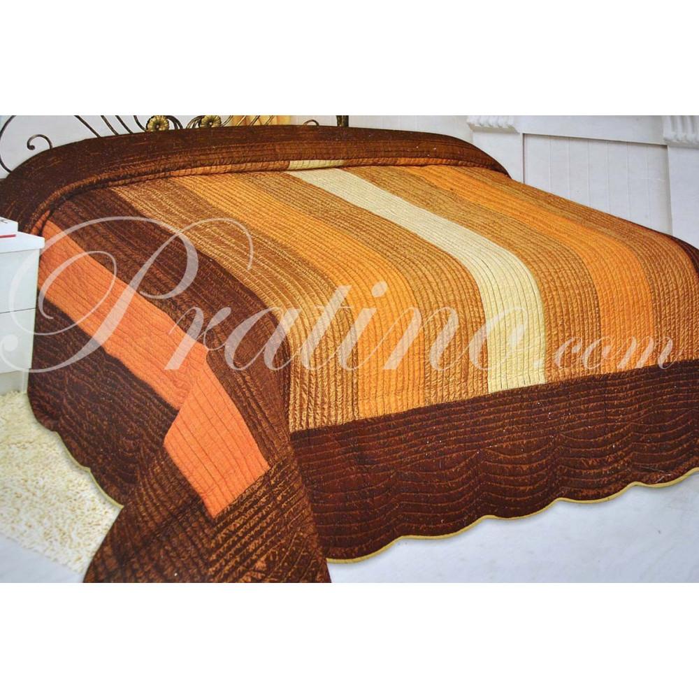 Copriletto trapuntato singolo righe arancio giallo marrone - Copriletto trapuntato singolo ...