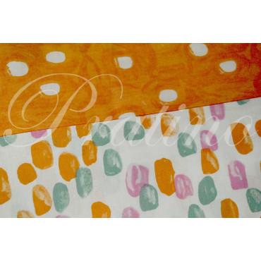 Lenzuola 1Piazza e Mezza Arancione Fantasia 180x290 sotto angoli 120x200 +1Federa