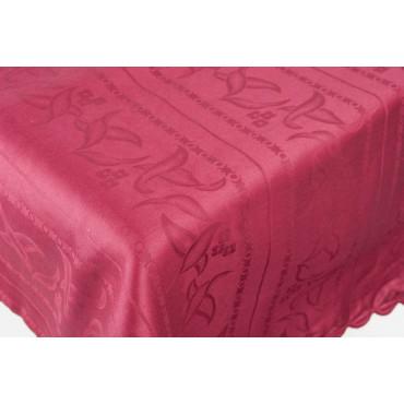 Rectangular Tablecloth x12 Bordeaux Flanders Jaquard Lines +12 Napkins 270x180 8041
