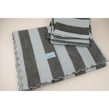 Rectangular Tablecloth x12 Gray Checks Jaquard 270x180 Without Napkins 84010