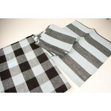 Oval Tablecloth x8 Pure Linen Light Blue Black Lines 230x180 +8 Napkins