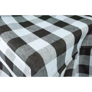 Mantel Ovalado x8 Lino Puro Celeste Líneas Negras 230x180 +8 Servilletas