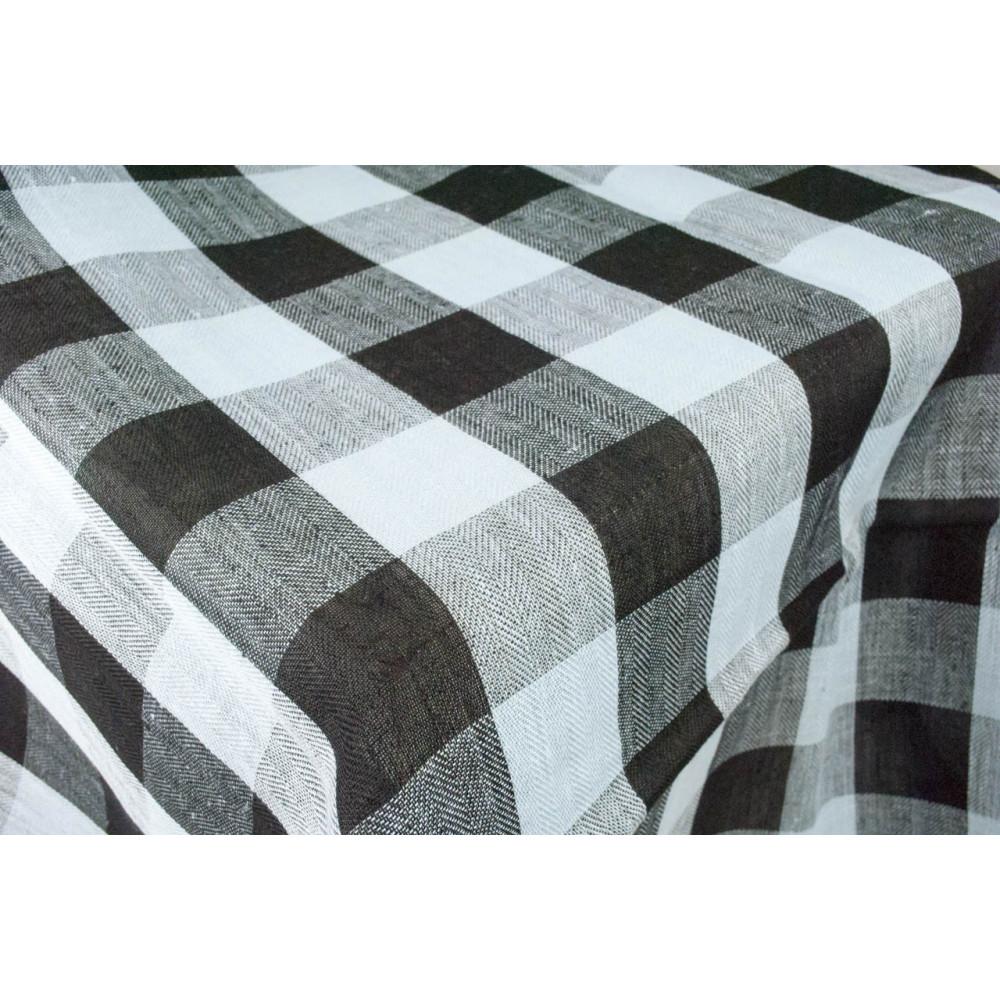 Tovaglia ovale x8 puro lino celeste nero righe 230x180 8 - Tovaglia per tavolo ovale ...