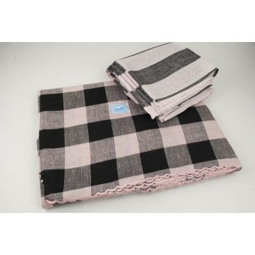 Mantel Ovalado x12 Lino Puro Cuadros Rosa Negro 260x180 +12 Servilletas
