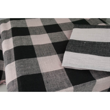 Oval Tablecloth x12 Pure Linen Pink Black Checks 260x180 +12 Napkins