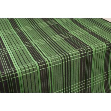 Mantel Ovalado x12 Lino Mezcla Cuadros Verde Negro 260x190 +12 Servilletas