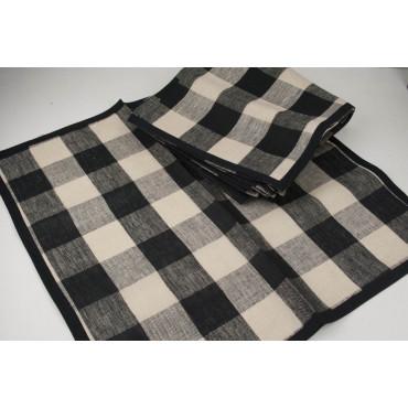 6x Pure Linen Black Beige Square Napkins 60x60