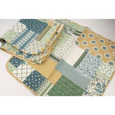 Rectangular Tablecloth x12 Yellow Ocher Flowers 270x180 +12 Patchwork Napkins
