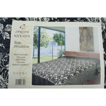 Quilt Quilted Bedspread Bed Rose White background Black 260x260 100% Pure Cotton