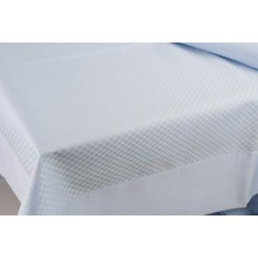 Rectangular Tablecloth x12 Light Blue Flanders Squares 270x180 +12 Napkins 8060