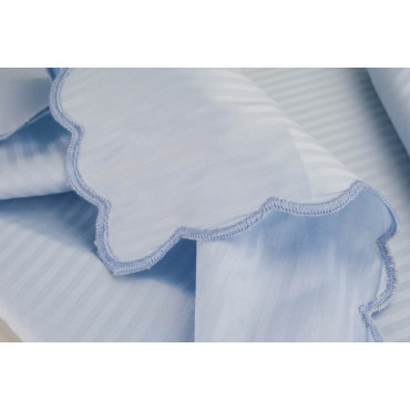 Rectangular Tablecloth x12 Light Blue Jaquard Lines 270x180 +12 Napkins 8083