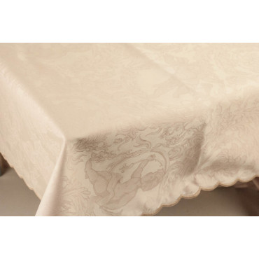 Rectangular Tablecloth x12 Pink Jaquard Angels 270x180 +12 Napkins 8084