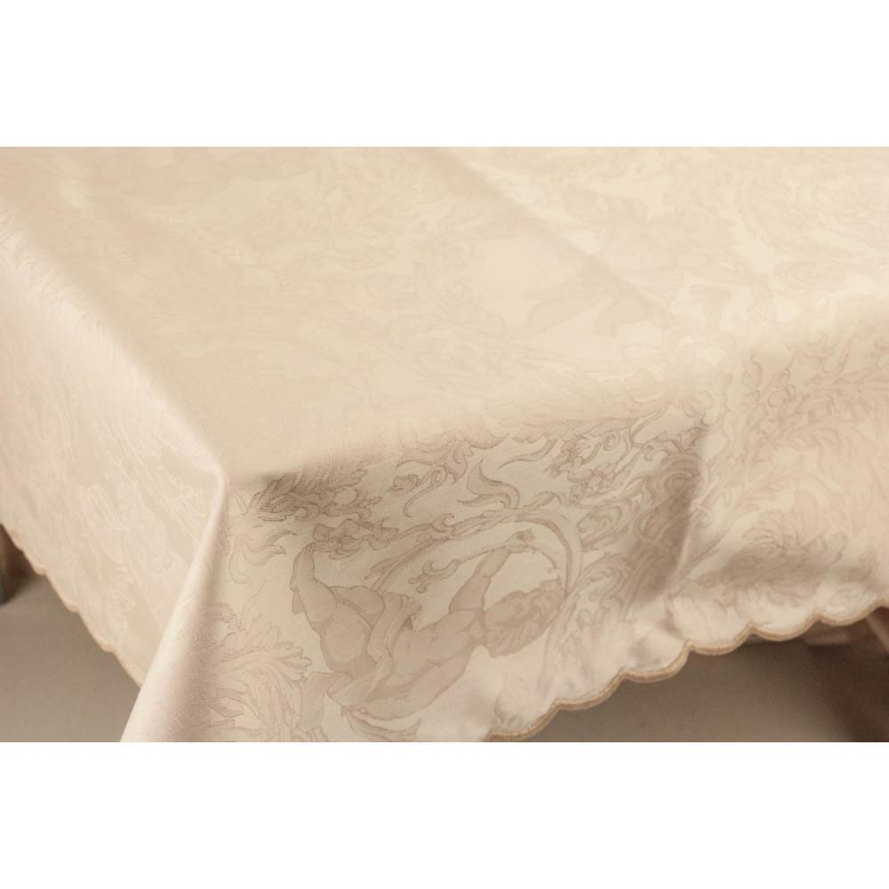 Rectangular Tablecloth x12 Pink Jaquard Angels 270x180 +12 Napkins 8084