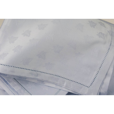 Rectangular Tablecloth x12 Light Blue Flanders Ivy 270x180 +12 Napkins 8085