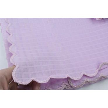 Mantel Rectangular x12 Organza Algodón Cuadrados Rosa Brillante +12 Servilletas 270x180 8071