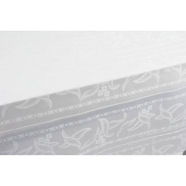 Mantel Rectangular x12 Flanders Jaquard Blanco Pétalos sin Servilletas 180x270 8040