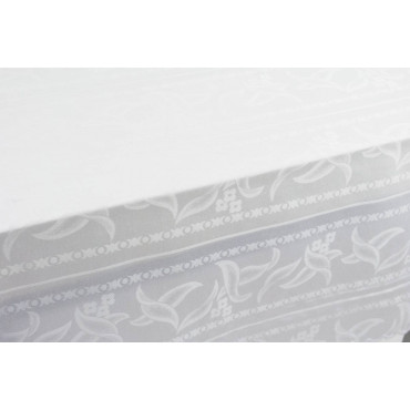 Rectangular Tablecloth x12 Flanders White Jaquard Petals without Napkins 180x270 8040