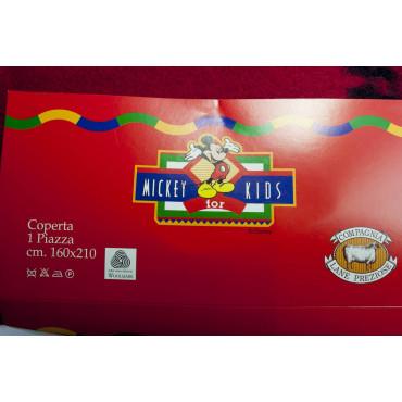 COPERTA Singola 160x210 100% Pura Lana Topolino Rossa