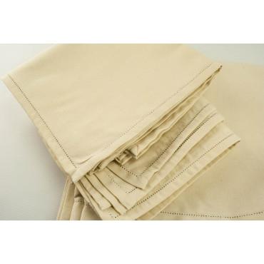 Rectangular Tablecloth x8 Natural Hemp 240x180 +8 Napkins - ref. Hemstitch