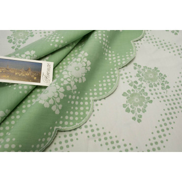 Double bedspread Satin Cotton Green Flowers 270x270 Erika ref. Rebrodé