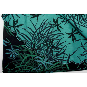 Double bedspread Satin Cotton, Black and Green Orchids 270x270 Oasis ref. Rebrodé