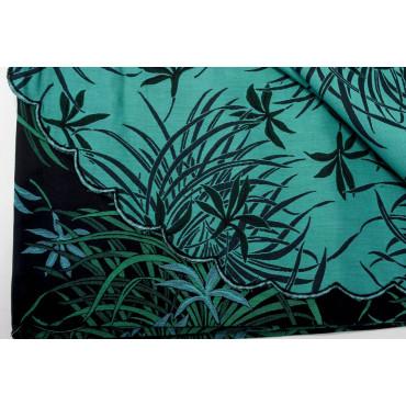 Double couvre-lit Satin de Coton, de Noir et de Vert Orchidées 270x270 Oasis réf. Rebrodé