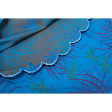 Double bedspread Cotton Satin royal Blue Fuchsia Orchids 270x270 Oasis ref. Rebrodé