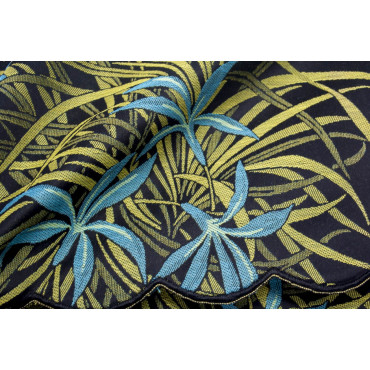 Double bedspread Satin Cotton Black Yellow Orchids 270x270 Oasis Rebrodé