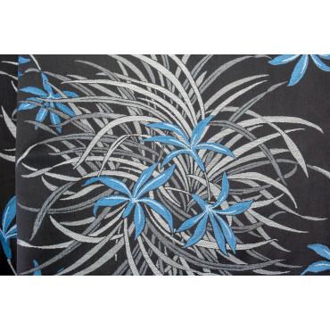 Doble colcha de Algodón de Satén Negro con Gris Turquesa Orquídeas 270x270 Oasis Rebrodé