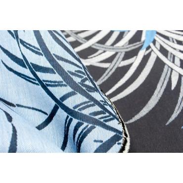 Double bedspread Cotton Satin Black Gray Turquoise Orchids 270x270 Oasis Rebrodé