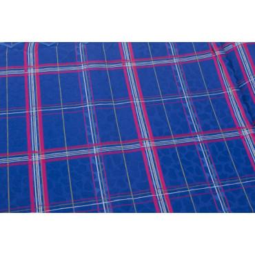 Double couvre-lit en Coton en Satin Bleu royal Fuchsia Plaid Panneaux 270x270 Rebrodé