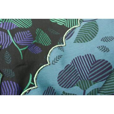Double couvre-lit Satin de Coton, Noir, Fleurs rose vif et de vert 270x270 Isabel Rebrodé