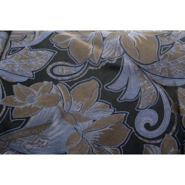 Double couvre-lit Satin de Coton Noir des Fleurs Beige 270x270 Inde Rebrodé