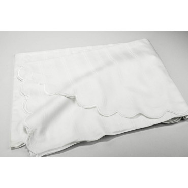 The bedspread's Lightweight Double Satin Cotton White Jacquard Pin 260x260 ref. Rebrodé Embroidered