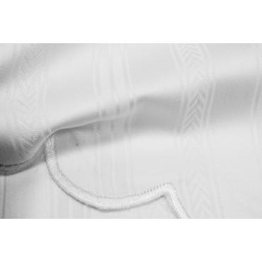 Copriletto Leggero Matrimoniale Raso Cotone Bianco Jaquard Spina 260x260 rif. Smerlo Ricamato