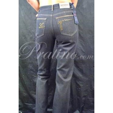 LES COPAINS Pantalone Jeans Vita Alta Donna 40 S Nero Lurex Oro -  Gonne e Pantaloni