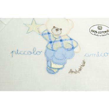Lenzuola Lettino Cancello Baby Ricamo Orsetto Celeste - Andy&Helen