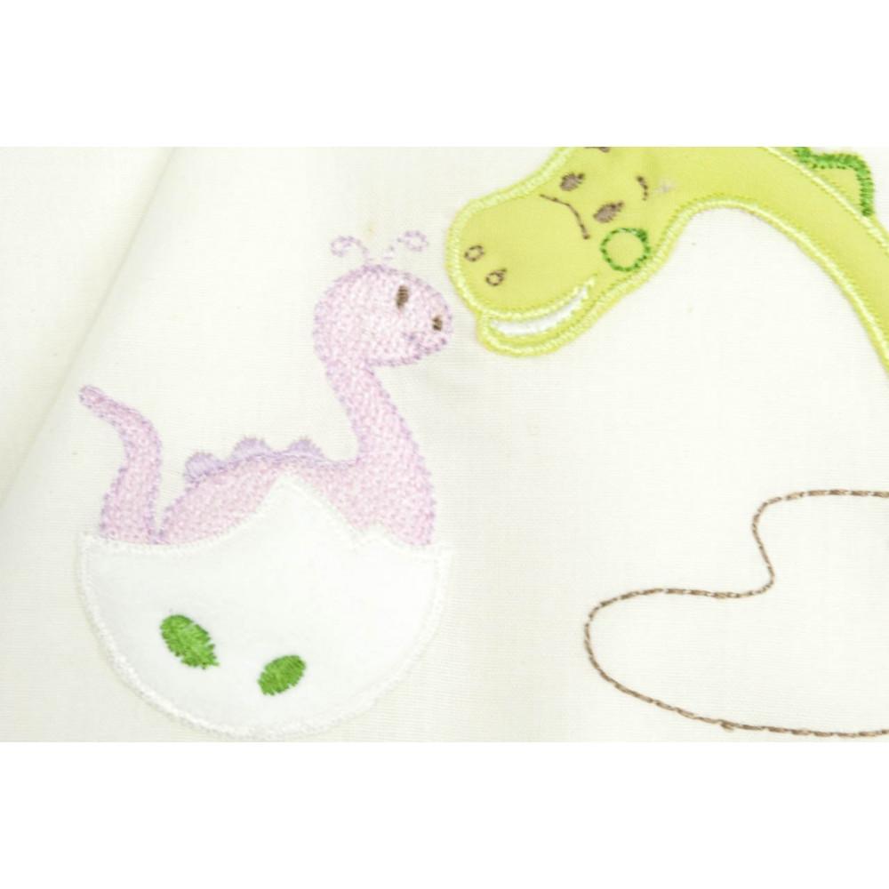 Lenzuola Culla Carrozzina Baby Ricamo Dinosauro- Verde, Giallo - Andy&Helen
