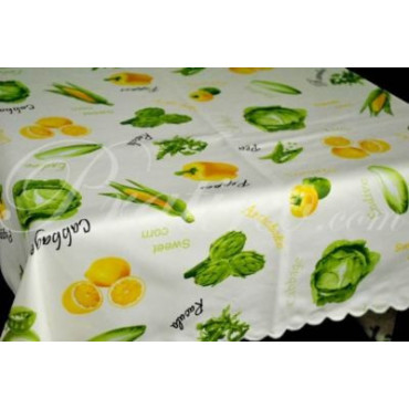 8201 TABLECLOTH ROUND 180+8TOV SATIN PRINT VEGETABLES YELLOW - Table Linens and Kitchen