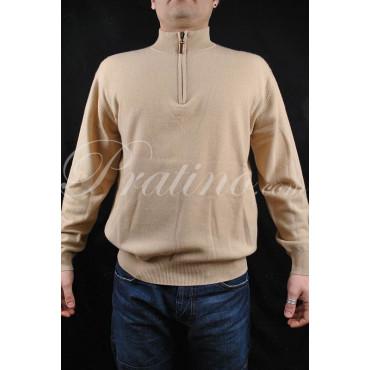 Pullover Uomo Mezzo Collo Zip 52 XL Puro Cachemire Beige Cipria Classico 2Fili